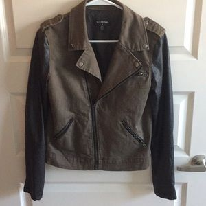 Black and Brown Faux Leather Jacket